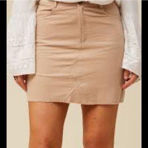 Altar'd State Meridian Skirt Tan Raw Hem Corduroy